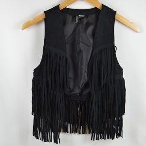 DIVIDED by H&M Girl's Sz 4 Black fringe Vest